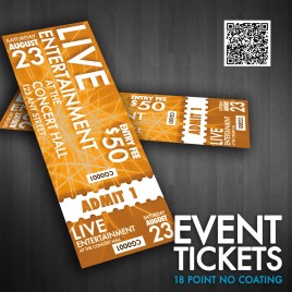 "Event Tickets 5.5"" X 2"" 18 Point No Coating 1000 Minimum Order"
