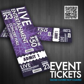 "Event Tickets 5.5"" X 2"" 100Lbs Gloss Cover Not Coated Short Run"