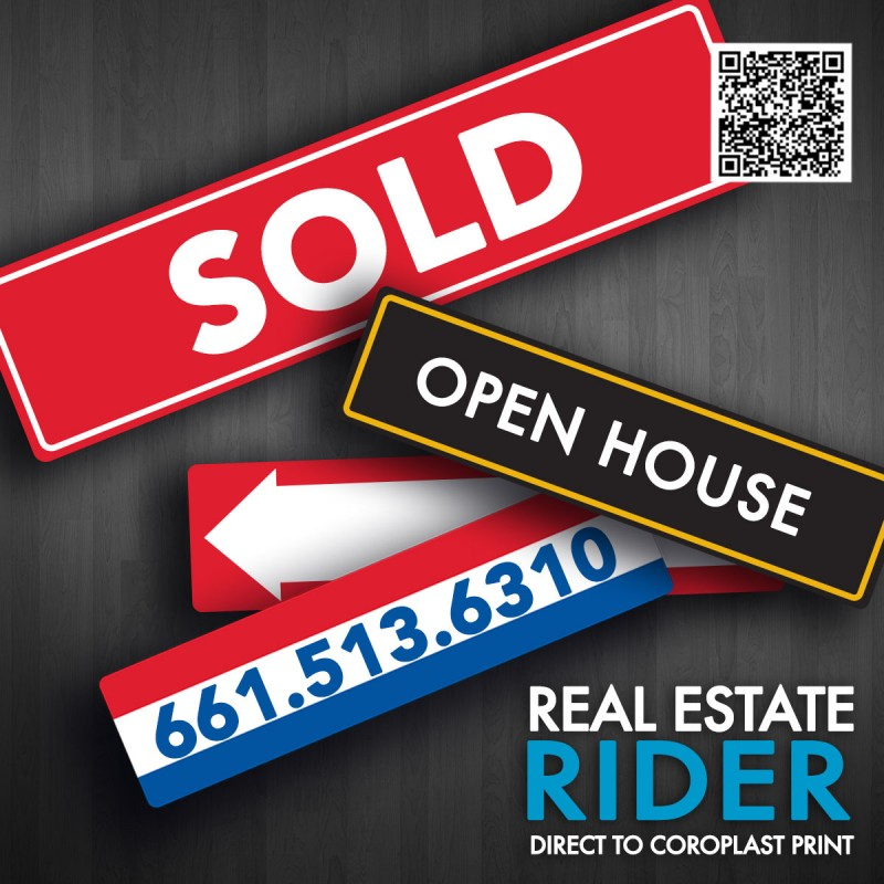 "Real Estate Rider Sign 6"" X  24"""